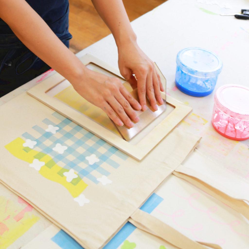 Manami Sakurai workshop silkscreen ワークショップ シルクスクリーン テキスタイルデザイン テキスタイル 櫻井マナミ